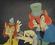 Walt-Disney-Studios-A-celluloid-of-J.-Worthington-Foulfellow-and-Gideon-from-Pinocchio
