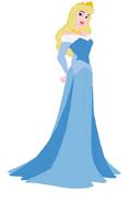 Aurora wearing a blue dress