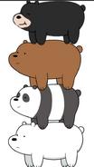 Chloe riding Grizz, Panda and Ice Bear