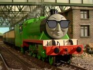 Henry the green engine with sunglasses
