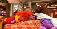 Mr. Huggles wakes up to find the monsters asleep