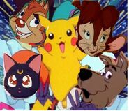 Scoob, luna, dale, Pikachu, and Tanya