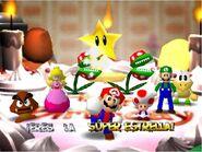 Mario party 64 mario luigi peach koopa tropa goomba toad and two piranha plants in peach cake