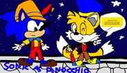 Sonic the Hedgehog as Pinocchio and Tails the Fox as Jiminy Cricket