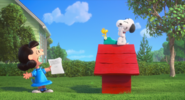 Lucy tells snoopy about a dog who fly
