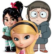 Penny Peterson, Chloe Park and Vanellope Von Schweetz