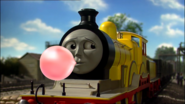 Molly blowing bubble gum