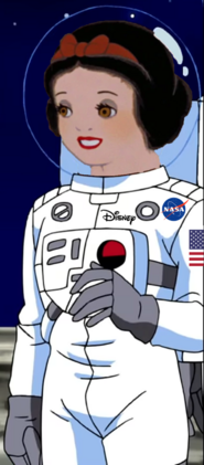 Snow White wearing a spacesuit on the moon