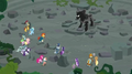 Mane Six Pillars and Pony of Shadows in Ponhenge ruins S7E26