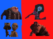Gru and 9 vs General Mandible and Scarlet Overkill