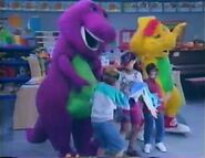 Barney, BJ and the kids pretend they're underwater