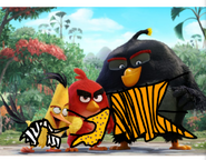 Red, Chuck, and Bomb as Jungle Birds