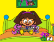 Dora Reading in Socks