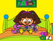 Dora Reading in Socks