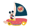 Mickey Mouse and his flyboat