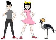 Riley and Elycia meets Grey Crowned Crane