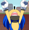 Sonic with his head thrown back