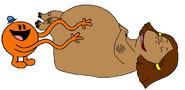 Mr. Tickle Tickling Francine Frensky as the Hippopotamus