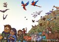 Noah's Ark Bugs Flies Macaws Parrots Parakeets Mallards Ducks Lions Giraffes Elks Deer Rhinoceroses Hippopotamuses Ferrets Guinea Pigs Bats Eagles Hamsters Hawks Falcons Penguins Doves Ravens and Toucans