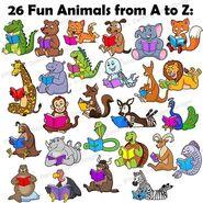 Alligators Bears Cats Dogs Elephants Foxes Giraffes Hippos Iguanas Jellyfishes Kangaroos Lions Monkeys Numbats Okapis Peacocks Quails Rhinos Snakes Turtles Tortoises Urials Unicorns Vultures Walruses X-ray Tetras Yaks Zebras