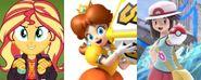 Sunset Shimmer, Princess Daisy and Leaf (Pokémon)