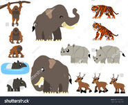 Stock-vector-southeast-asian-animals-vector-containing-tiger-orangutan-javan-rhinoceros-tapir-asian-elephant-582553612