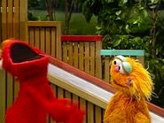 Elmo gets angry at Zoe for stealing his joke