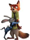 Judy Hopps hugs Nick Wilde render