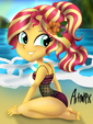 Sunset Shimmer in the sunny beach