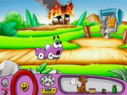 Putt-Putt noticing the shed on fire during Putt-Putt Enters The Race