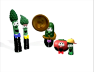 Dad Asparagus, Mom Asparagus, Bob the Tomato, Larry the Cucumber and Junior Asparagus singing opera