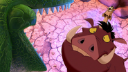 Rex scares Timon and Pumbaa
