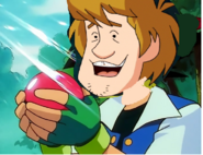 Shaggy Rogers-holding caterpie in his pokeball
