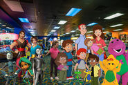 Fred and Kristen and their families and siblings at the Coco Key Water Resort Arcade