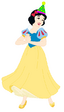Snow White Wearing a party hat