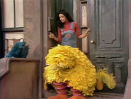 Big Bird is asleep on the steps in episode 897