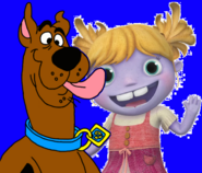 Scooby licking Gina