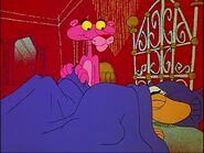 Pink panther begins to sleep with big nose