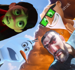 (Conflict) Violet Parr and Olaf vs Chester V and Justin Pin.png