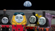 Emily, Rosie, Molly and Rebecca on the moon