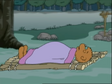 Papa Bear sleeps on the bed that sort of the raft floating on the water
