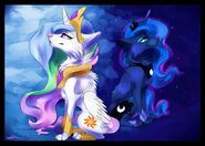 Wolf Princess Celestia and Wolf Princess Luna by Affanita