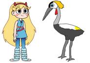 Star meets Grey Crowned Crane