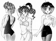 Hand-drawn sailor scouts in their swimsuit sketch