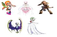 Inkling Girl, Lunala, Mega Gardevoir, Mega Diancie & Astrid Hofferson