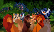 Mufasa, Sarabi, Simba, Nala, Kovu, Kiara, Timon, Pumbaa, Uncle Max, Zazu, Timon's Ma and Rafiki (The Lion King)