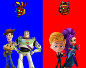 Woody and Buzz Lightyear vs Lou and Zeta