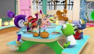 The Muppet Babies eating ghost pancakes except Kermit