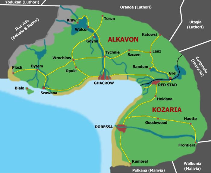 Map of Kozaria and Alkavon