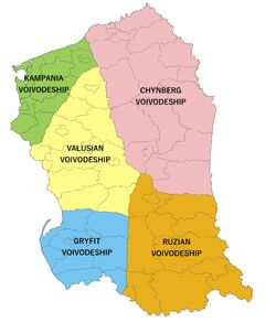 Division of Valruzia into Voivodeships and Counties